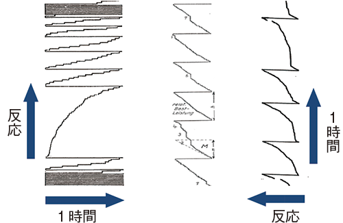 図4 さまざまな累積記録。Aは積算雨量計の累積雨量の記録