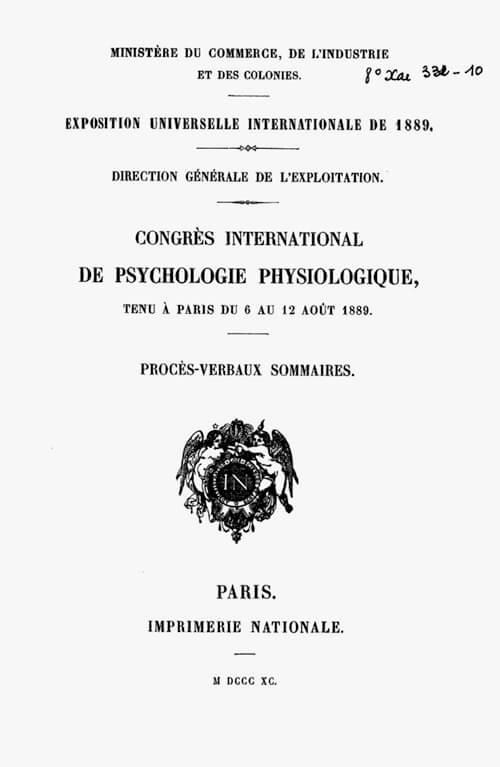 1889 年大会のプログラム