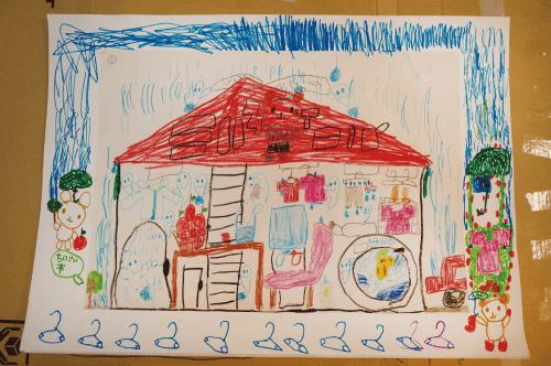 図1 A児の描いた絵(左)