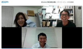 中央:亀岡氏(日本心理学会事務局)、右上:河地先生
