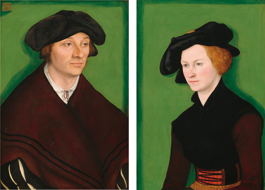 図1 ルーカス・クラナッハ(父)による男性(左側)と女性(右側)の肖像
