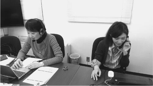 オンライン配信の様子。右側は筆者。左側は講師の小川一美先生。