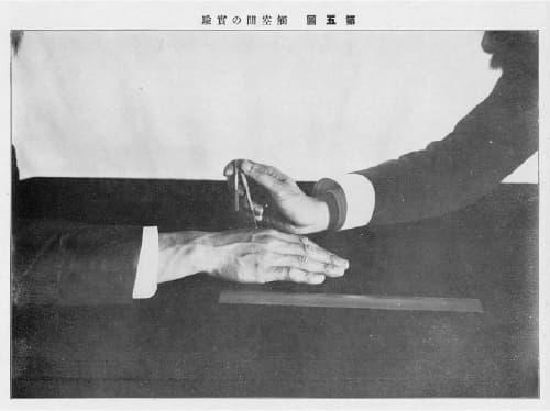 写真1 『実験心理写真帖』(1910, 弘道館)の第五図。 触覚計を使った2点弁別閾測定実験の様子