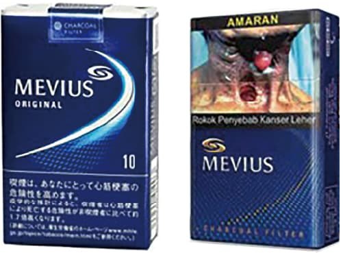 図1 日本と国外のメビウスの パッケージ
